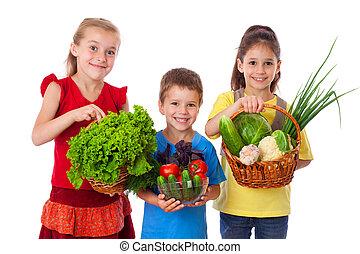 frais, sourire, gosses, légumes