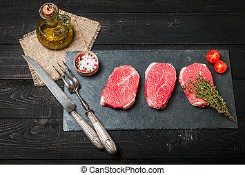 frais, tendre, bifteck, cru