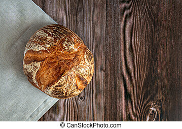 frais, texte, pain, vue, table., espace, sommet, bois