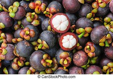 frais, thaï, mangoustan, organique, fruit.