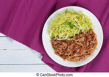 frais, tiré, salade viande, juteux