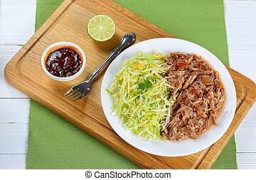 frais, tiré, viande, salade chou, juteux