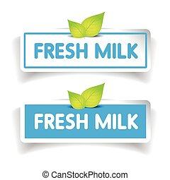 frais, vecteur, lait, étiquette