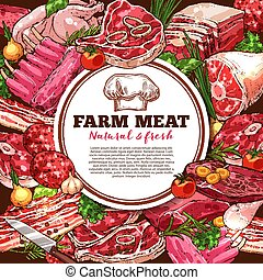 frais, vecteur, viande, affiche