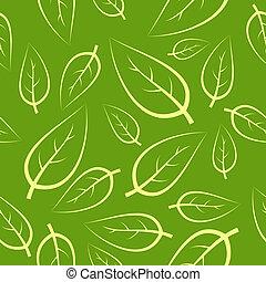 frais, vert, seamless, pousse feuilles, modèle