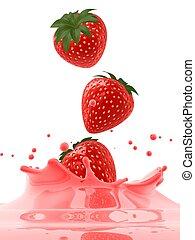 fraise, éclaboussure, jus