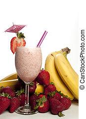 fraise, banane, smoothie
