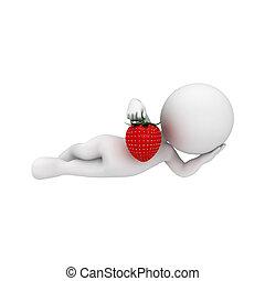 fraise, blanc, 3d, gens