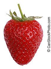 fraise, blanc, isolé, fond