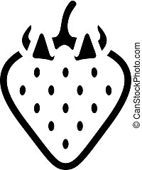 fraise, bw, -, icônes