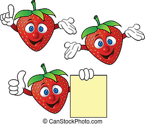 fraise, caractère, dessin animé