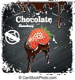 fraise, chocolat, vecteur, affiche