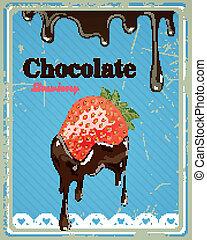 fraise, chocolat, vecteur, signe