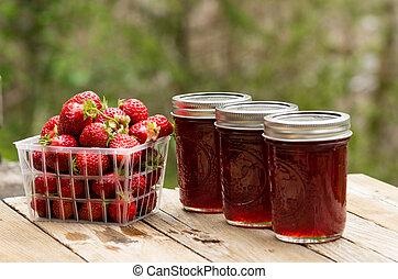 fraise fraîche, confiture, ou, gelée