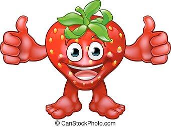 fraise, fruit, caractère, dessin animé, mascotte