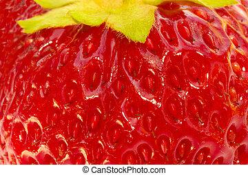 fraise, gros plan, extrême