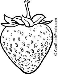 fraise, livre, coloration, illustration