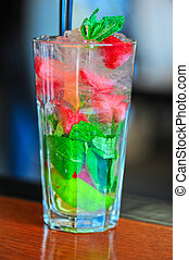 fraise, mohito, cocktail