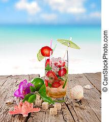 fraise, mojito, cocktail