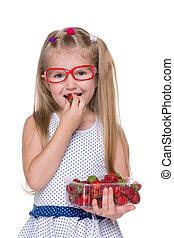 fraise, petite fille, mange