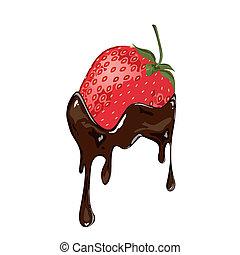 fraise, plongé, chocolat