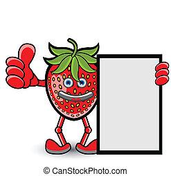 fraise, pose, bannière, pouce haut