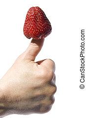 fraise, pouce, collé