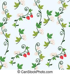 fraise, seamless, modèle, à, baies, et, fleurs