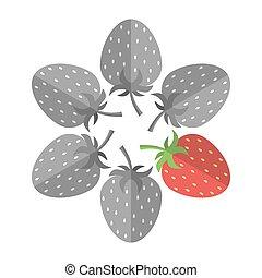 fraise, unique, rouges
