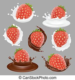 fraise, vecteur, ensemble, dessert, icône