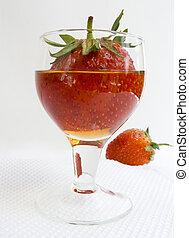 fraise, vin-verre