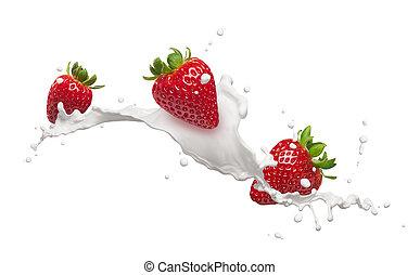 fraises, éclaboussure, lait