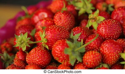 fraises, closeup, bol