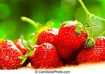 fraises fraîches, closeup, arrière-plan flou
