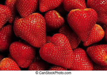 fraises, tas, rouges