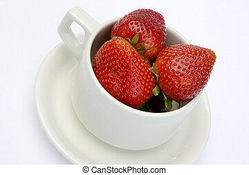 fraises, tasse