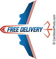 frakt, avbild, gratis, luft, leverans, logo