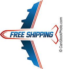 frakt, avbild, gratis, luft, skeppning, logo
