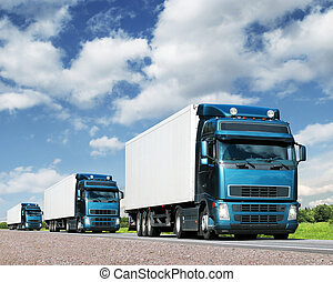 frakt, begrepp, konvoj, lastbilar, motorväg, transport