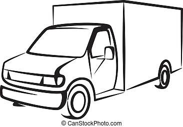 frakt, begrepp, truck., illustration