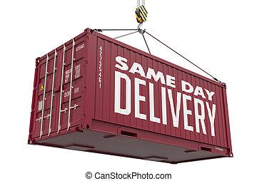 frakt, container., -, bourgogne, leverans, samma, hängande, ...