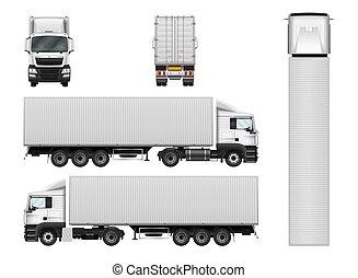 frakt, container., mall, halv-, isolerat, vektor, lastbil, bakgrund, vit, släpvagn