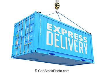 frakt, container., uttrycka, -, leverans, hängande, röd