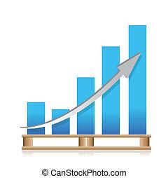 frakt, försäljningarna, skeppning, graf