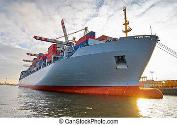 frakt, frakta behållare, skepp