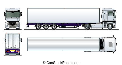 frakt, halv-, isolerat, vektor, lastbil, mall, vit