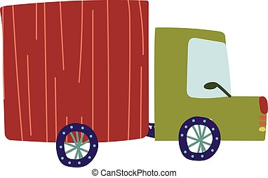 frakt, illustration, tecknad film, leverans, vektor, lastbil, lorry