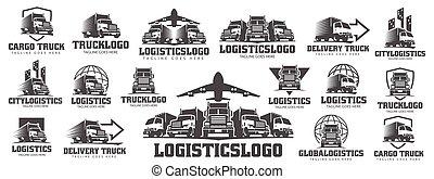 frakt, logo, logistisk, logo, packe, lastbil, sätta, leverans transporterar
