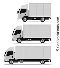 frakt, sätta, lastbil