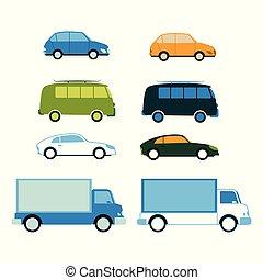 frakt, sätta, skåpbil, bil, familj, vektor, lastbil, buss, sport